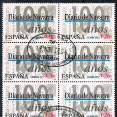 Sellos: EDIFIL 4000, DIARIOS CENTENARIOS, DIARIO DE NAVARRA (PAMPLONA), USADO EN BLOQUE DE 10. Lote 197473501