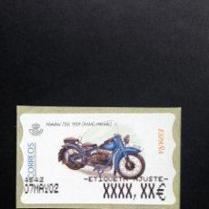 Sellos: ESPAÑA.AÑO 2002.ATMS./MOTOCICLETAS CLASICAS.. Lote 197762005