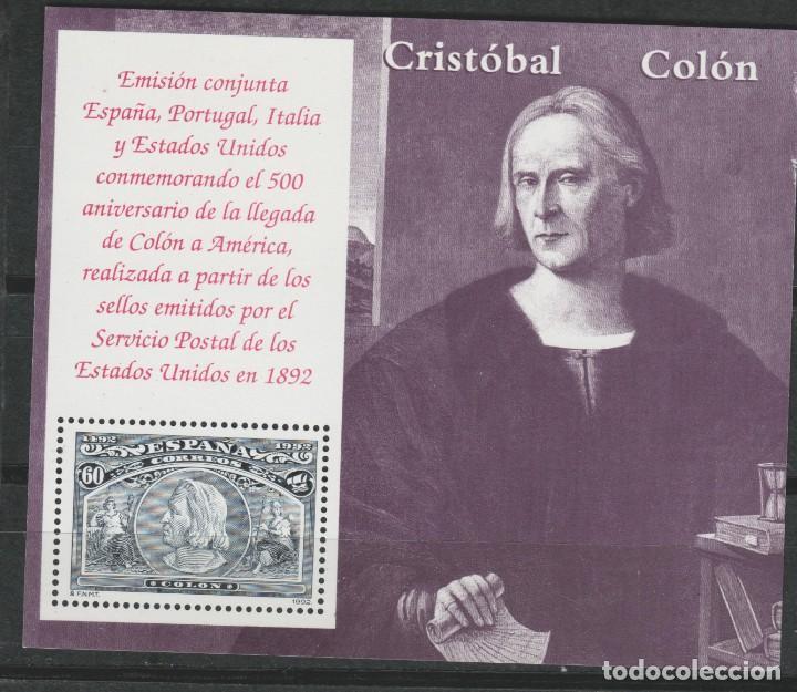 LOTE A2-SELLO HOJA CRISTOBAL COLON NUEVA (Sellos - España - Juan Carlos I - Desde 1.986 a 1.999 - Nuevos)