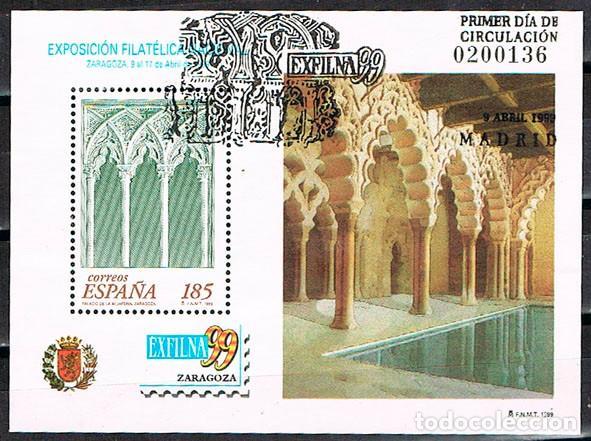 EDIFIL 3625, EXFILNA'99, LA ALJAFERIA, ZARAGOZA, USADO CON MATASELLOS PRIMER DIA DE LA EXFILNA (Sellos - España - Juan Carlos I - Desde 1.986 a 1.999 - Usados)