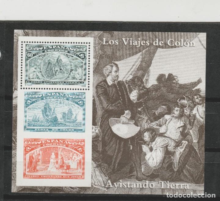 LOTE A2-SELLOS HOJA CRISTOBAL COLON NUEVA (Sellos - España - Juan Carlos I - Desde 1.986 a 1.999 - Nuevos)