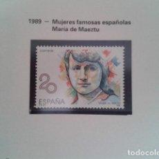 Francobolli: ESPAÑA 1989. EDIFIL 2989. MUJERES FAMOSAS ESPAÑOLAS. MARÍA DE MAEZTU. NUEVO. Lote 198182902