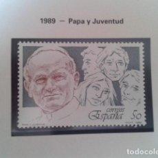 Francobolli: ESPAÑA 1989. PAPA Y JUVENTUD - EDIFIL 3022 - JUAN PABLO II. NUEVO. Lote 198188705