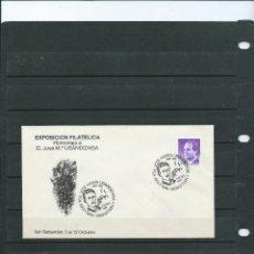 Sellos: SOBRE CON MATASELLO ESPECIAL DE LA EXPOSICION FILATELICA DE JOSE Mª USANDIZAGA DE SAN SEBASTIAN 1987. Lote 198591771