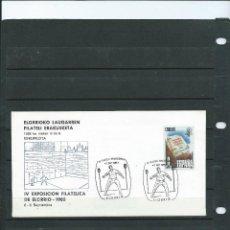 Sellos: SOBRE CON MATASELLO ESPECIAL DE LA EXPOSICION FILT DEL FRONTON DEL ELORRIO DEL AÑO 1985. Lote 198597843