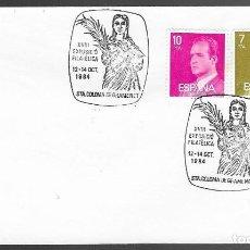 Sellos: SOBRE CON MATASELLO EXPOSICIO FILATELICA 12-14 OCT 1984, STA COLOMA DE GRAMENET, FOTO ORIGINAL. Lote 198728882