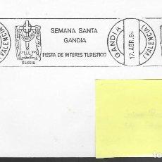 Sellos: SOBRE CON MATASELLO DE RODILLO SEMANA SANTA GANDIA,17-4-1984, FOTO ORIGINAL. Lote 198729233