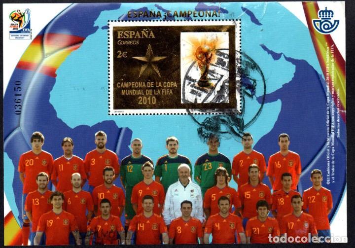 SELLO USADO HOJA BLOQUE Nº 4608 (EDIFIL). AÑO 2010. ESPAÑA CAMPEONA COPA MUNDIAL FIFA. (Sellos - España - Juan Carlos I - Desde 2.000 - Usados)