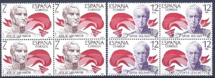 EDIFIL 2489-2490 AMÉRICA - ESPAÑA 1978 (SERIE COMPLETA EN BLOQUES DE 4). MNH ** (Sellos - España - Juan Carlos I - Desde 1.975 a 1.985 - Nuevos)