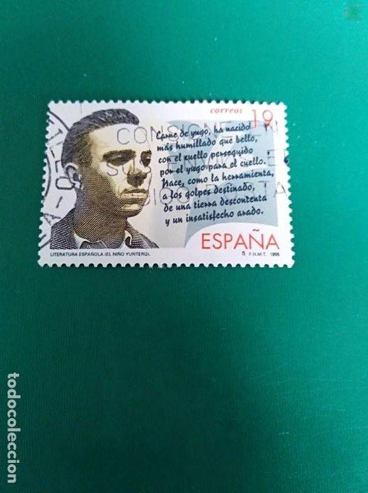 SELLO LITERATURA ESPAÑOLA PERSONAJES DE FICCIÓN EL NIÑO YUNTERO ESPAÑA (Sellos - España - Juan Carlos I - Desde 1.986 a 1.999 - Usados)