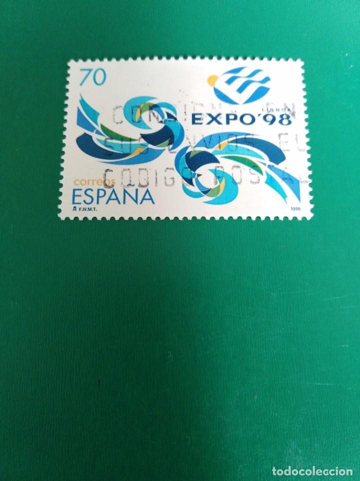 SELLO EXPOSICIÓN UNIVERSAL DE LISBOA EXPO 98 ESPAÑA (Sellos - España - Juan Carlos I - Desde 1.986 a 1.999 - Usados)