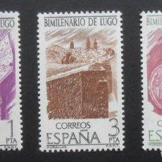 Sellos: SERIE COMPLETA 3 SELLOS NUEVOS ESPAÑA 1976 - BIMILENARIO DE LUGO - EDIFIL 2356/2357/2358. Lote 199621375