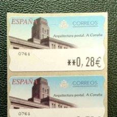 Timbres: ESPAÑA. ATM ARQUITECTURA POSTAL, EN TRES VALORES: 0,28-0,53-0,78 EUROS. A CORUÑA. EMISIÓN: OCTUBR. Lote 200830796
