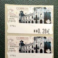 Timbres: ESPAÑA. ATM ARQUITECTURA POSTAL, EN TRES VALORES: 0,28-0,53-0,78 EUROS. LOGROÑO. EMISIÓN: SEPTIEM. Lote 200831477