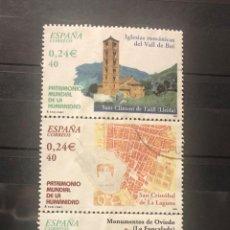 Timbres: ESPAÑA 2001, 4 SELLOS USADOS EN TIRA DE LA SERIE PATRIMONIO MUNDIAL DE LA HUMANIDAD. Lote 200870930