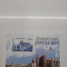 Sellos: ESPAÑA 2007 HOJA BLOQUE EDIFIL 4321 EXFILNA 2007 PALMA DE MALLORCA POR DEBAJO DE FACIAL. Lote 200876681