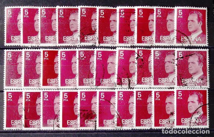 2347P, TREINTA SELLOS EN USADO, FOSFORESCENTES, LIMPIOS, EN UNA FICHA, LOS DE LA FOTOGRAFÍA. J. CARL (Sellos - España - Juan Carlos I - Desde 1.975 a 1.985 - Usados)
