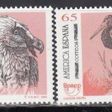 Selos: ESPAÑA,1993 EDIFIL Nº 3270 / 3271 /**/, AMÉRICA UPAEP / AVES: QUEBRANTAHUESOS, CIGÜEÑA NEGRA . Lote 201975570