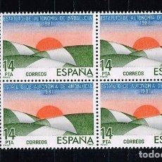 Sellos: ESPAÑA 1983 - EDIFIL 2686** - ESTATUTOS DE AUTONOMÍA - BLOQUE DE 4 - BORDE HOJA. Lote 202009427