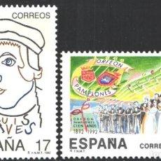 Selos: ESPAÑA,1992 EDIFIL Nº 3224 / 3225 /**/, JUAN LUIS VIVES / ORFEÓN PAMPLONÉS . Lote 202026816