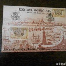 Sellos: ESPAÑA-1 SELLO-CARTULINA GRANDE-DIA DEL SELLO-BARCELONA-EXFILNA-1980. Lote 203162830