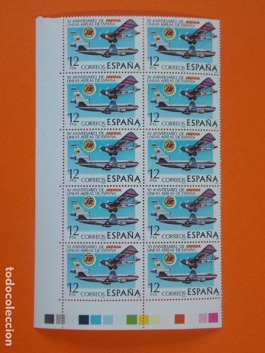EDIFIL 2448, ANIV. FUNDACION COMPAÑIA AEREA IBERIA, 1977, 1 BLOQUE DE 10 SELLOS - NUEVOS.. L981 (Sellos - España - Juan Carlos I - Desde 1.975 a 1.985 - Nuevos)