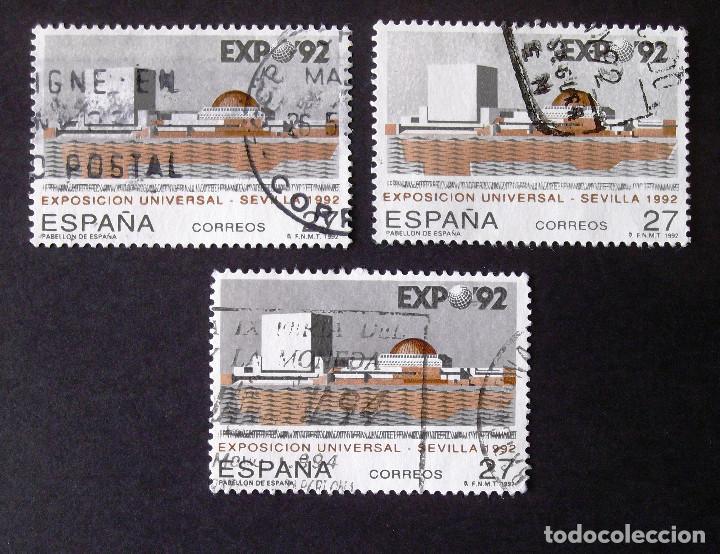 3155, TRES SERIES EN USADO. SEVILLA. (Sellos - España - Juan Carlos I - Desde 1.986 a 1.999 - Usados)