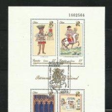 Sellos: HOJA DE PATRIMONIO ARTISTICO NACIONAL DE 1.992 USADA. Lote 204412357