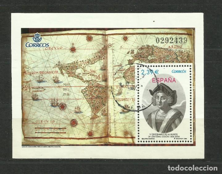 HOJA DE LA MUERTE DE COLON DE 2.006. USADA (Sellos - España - Juan Carlos I - Desde 1.986 a 1.999 - Usados)