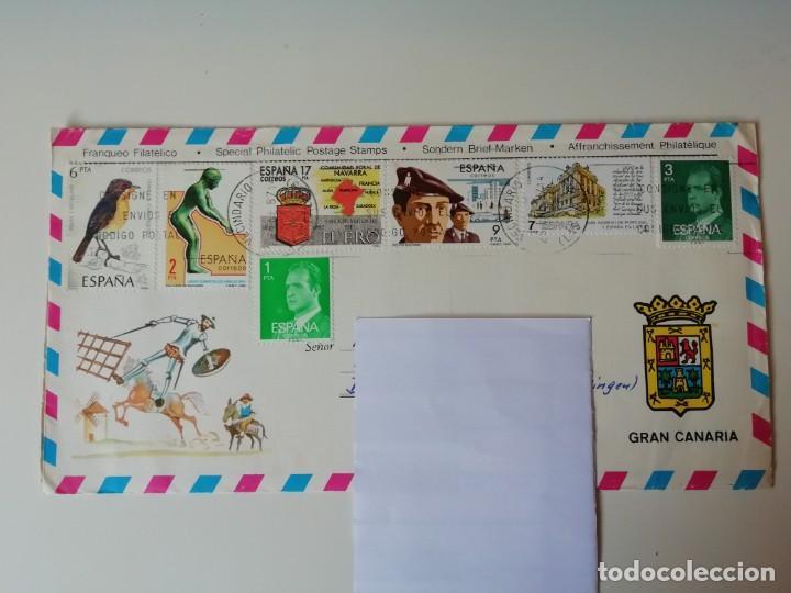 SOBRE FRANQUEO FILATÉLICO DE ESPAÑA (Sellos - España - Juan Carlos I - Desde 1.975 a 1.985 - Cartas)