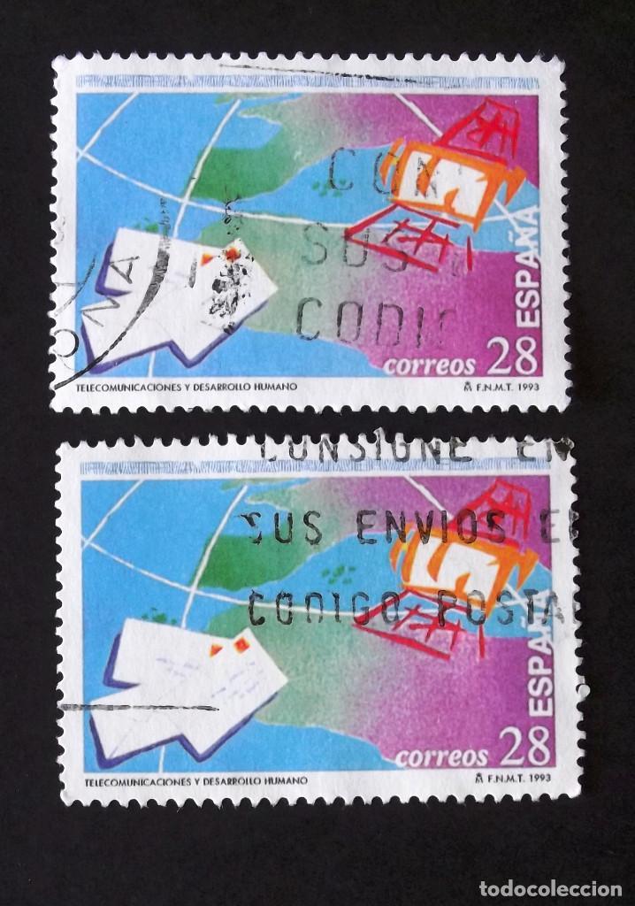 3255, DOS SERIES EN USADO. TELECOMUNICACIONES. (Sellos - España - Juan Carlos I - Desde 1.986 a 1.999 - Usados)
