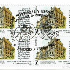 Sellos: 1986 PORTUGAL Y ESPAÑA EN LA CE ED 2825-2828 BLOQUE DE 4, NUEVO PERO CON MATASELLO PRIMER DIA. Lote 205594408