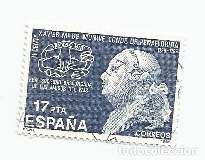 LOTE DE 2 SELLOS USADOS DE 1985- II CENTENARIO DE LA MUERTE DE XAVIER MARIA DE MUNIVE - EDIFIL 2824 (Sellos - España - Juan Carlos I - Desde 1.975 a 1.985 - Usados)