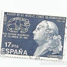 Sellos: LOTE DE 2 SELLOS USADOS DE 1985- II CENTENARIO DE LA MUERTE DE XAVIER MARIA DE MUNIVE - EDIFIL 2824. Lote 206070880