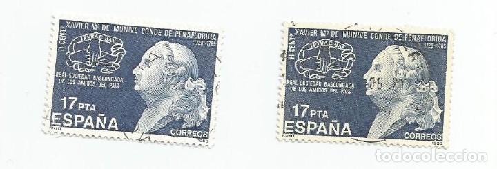Sellos: LOTE DE 2 SELLOS USADOS DE 1985- II CENTENARIO DE LA MUERTE DE XAVIER MARIA DE MUNIVE - EDIFIL 2824 - Foto 3 - 206070880