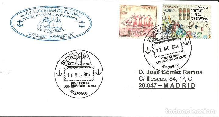 CARTA CIRCULADA , MATASELLADA EN EL JUAN SEBASTIAN ELCANO , CON FRANQUICIA (Sellos - España - Juan Carlos I - Desde 2.000 - Cartas)