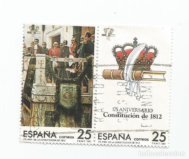 LOTE DE 4 SELLOS USADOS DE 1987- SERIE 175 ANIVERSARIO DE LA CONSTITUCION DE 1812-EDIFIL 2887 A 2890 (Sellos - España - Juan Carlos I - Desde 1.986 a 1.999 - Usados)