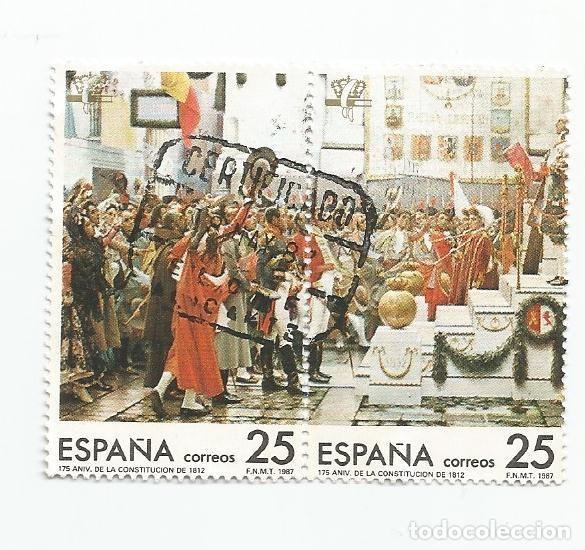 Sellos: LOTE DE 4 SELLOS USADOS DE 1987- SERIE 175 ANIVERSARIO DE LA CONSTITUCION DE 1812-EDIFIL 2887 A 2890 - Foto 2 - 206331457
