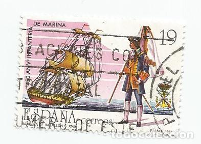 LOTE DE 2 SELLOS USADOS DE 1987- SERIE 450 ANIVERSARIO DE LA INFANTERIA DE MARINA- EDIFIL 2885 (Sellos - España - Juan Carlos I - Desde 1.986 a 1.999 - Usados)