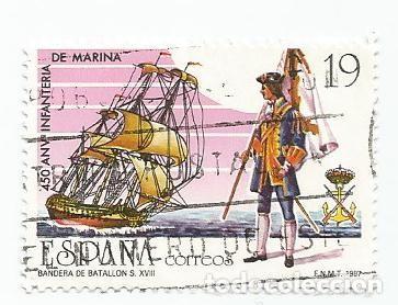 Sellos: LOTE DE 2 SELLOS USADOS DE 1987- SERIE 450 ANIVERSARIO DE LA INFANTERIA DE MARINA- EDIFIL 2885 - Foto 2 - 206332133