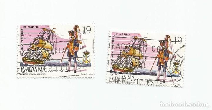 Sellos: LOTE DE 2 SELLOS USADOS DE 1987- SERIE 450 ANIVERSARIO DE LA INFANTERIA DE MARINA- EDIFIL 2885 - Foto 3 - 206332133