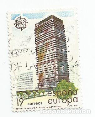 SELLO USADO DE 1987- SERIE EUROPA EDIFICIO DEL BANCO DE BILBAO- EDIFIL 2900 (Sellos - España - Juan Carlos I - Desde 1.986 a 1.999 - Usados)
