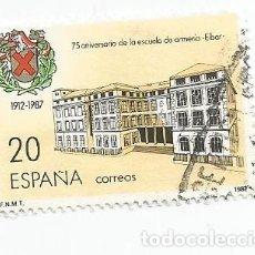 Sellos: SELLO USADO DE 1987- SERIE 75 ANIVERSARIO DE LA ESCUELA DE ARMERIA DE EIBAR- EDIFIL 2907. Lote 206334936