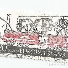 Sellos: 2 SELLOS USADOS DE 1988- EUROPA- PRIMER FERROCARRIL ESPAÑOL EN CUBA -MATASELLO EXPO 92 EDIFIL 2949. Lote 206463846