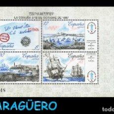 Sellos: HOJA DE 4 VALOR AÑO 1987 ORIGINAL (EXPOSICION AMERICA Y EUROPA - LA CORUÑA ESPAMER 87)SERIE 2082848. Lote 206596480