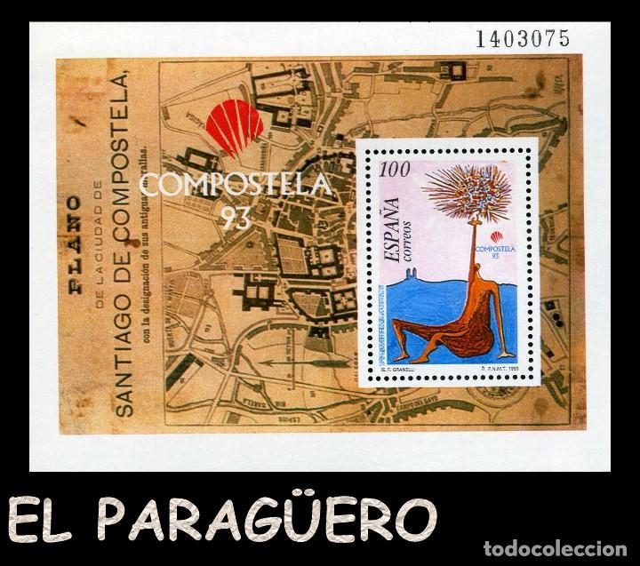 HOJA DE UN VALOR AÑO 1993 ORIGINAL ( PLANO DE LA CIUDAD DE SANTIAGO DE COMPOSTELA ) Nº1403075 (Sellos - España - Juan Carlos I - Desde 1.986 a 1.999 - Nuevos)