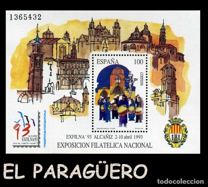 HOJA DE UN VALOR AÑO 1993 ORIGINAL( EXPOSICION FILATELICA NACIONAL - EXFILNA 93 ALCAÑIZ )Nº1365432 (Sellos - España - Juan Carlos I - Desde 1.986 a 1.999 - Nuevos)