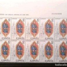 Sellos: ESPAÑA. 2721 VIDRIERA: CATEDRAL DE LEÓN, EN BLOQUE DE DIEZ + VIÑETAS. 1983 SELLOS NUEVOS Y NUMERACIÓ. Lote 207121515