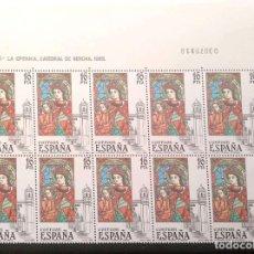 Sellos: ESPAÑA. 2722 VIDRIERA: CATEDRAL DE GERONA, EN BLOQUE DE DIEZ + VIÑETAS. 1983 SELLOS NUEVOS Y NUMERAC. Lote 207121562