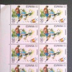Sellos: ESPAÑA. 2614 COPA MUNDIAL DE FÚTBOL ESPAÑA'82: JUGADAS DE ESTE DEPORTE, EN BLOQUE DE DIEZ. 1981. SEL. Lote 207124622